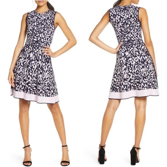 ELIZA J Dress Floral Print Sleeveless Knit Purple